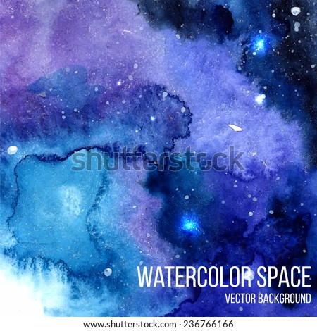 Vector space background with sparkling stars. Night watercolor sky with paint strokes and swashes. Vector illustration. - stock vector