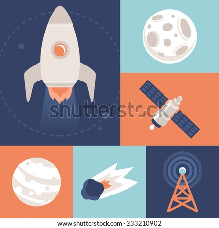 Vector space icons in flat style - space ship and rocket - stock vector