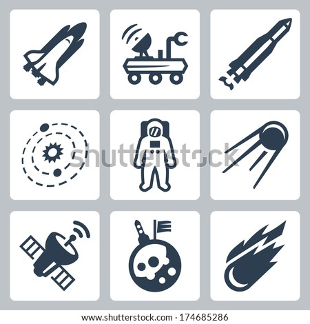 Vector space icons set - stock vector