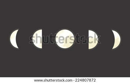 Vector space illustration of five moon phases - stock vector