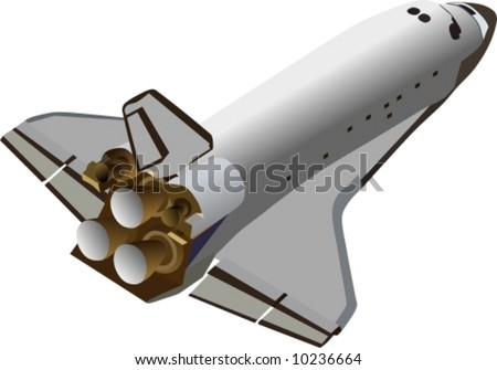 vector space shuttle flying up - stock vector