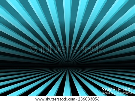 Vector space warp travel background illustration - Vector blue abstract rays template illustration - stock vector