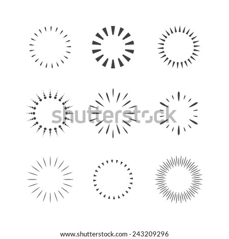 Vector Sparkles and Stars Set. Flash Design Elements - stock vector