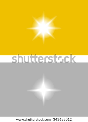 Vector sparkles glossy symbol on the gold and silver background - star glitter, stellar flare, reflection - stock vector