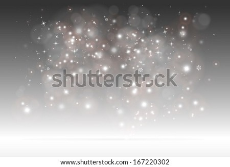 Vector sparks and glitters scene for design templates and backgrounds on reflective surface - Vector 3D sparkling background illustration  - stock vector