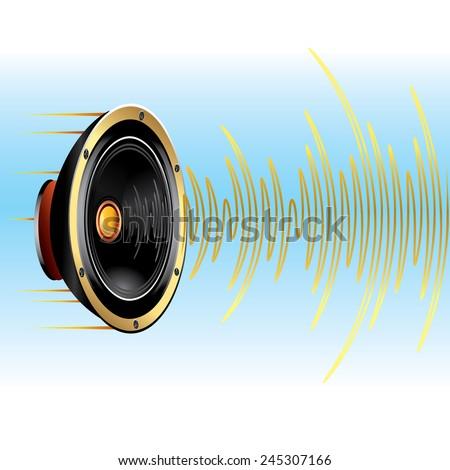 Vector speaker & soundwave - stock vector
