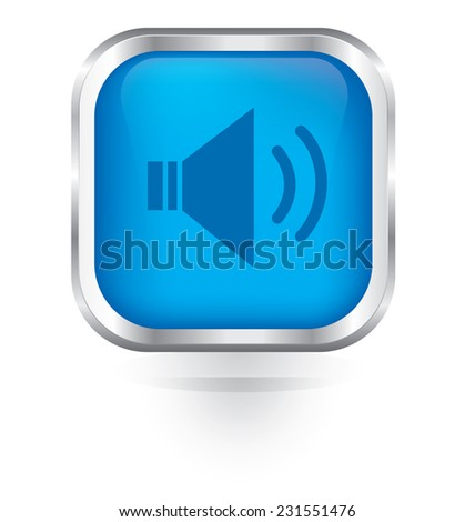 Vector speaker volume icon glossy button  - stock vector