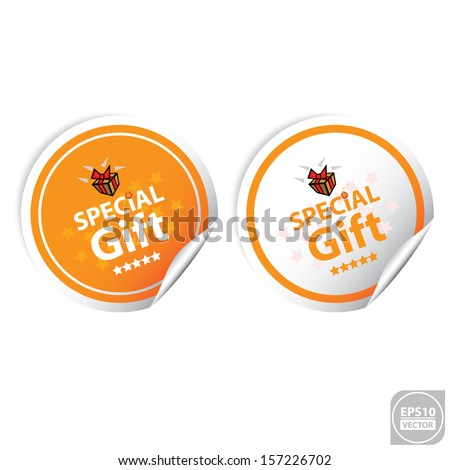 Vector:Special Gift Orange Stickers