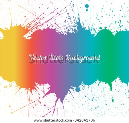 Vector spectrum ink splashes with space for text over white. Element for your designs, projects, promotional sales and other your projects. Just add your text - stock vector