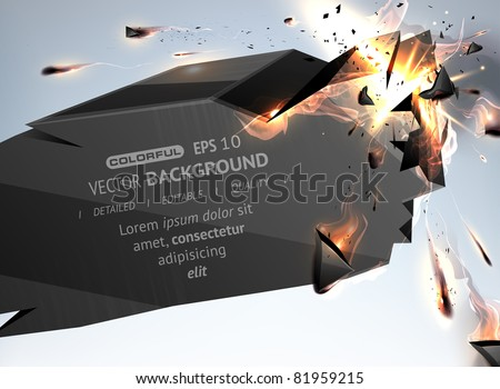 Vector Speech Bubble Crushing with fire - stock vector