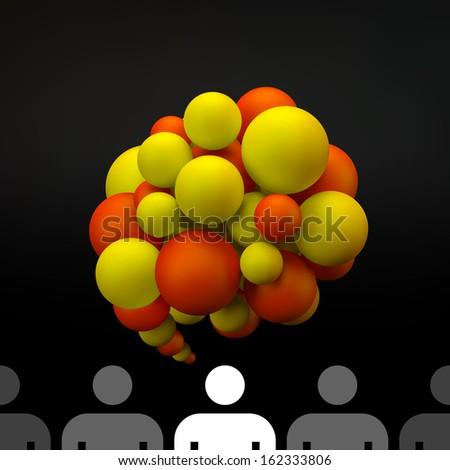 Vector speech bubble. 3D illustration. - stock vector
