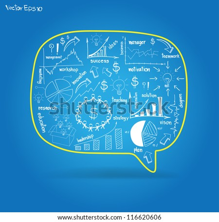 Vector speech bubble with drawing business strategy plan concept idea - stock vector