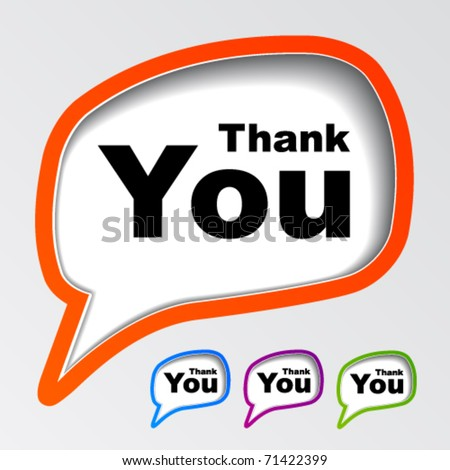 vector speech bubbles thank you - stock vector