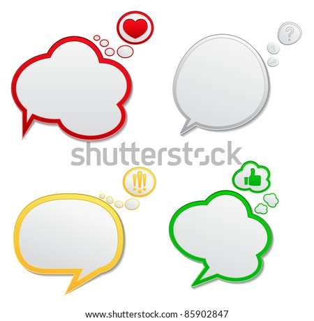 Vector Speech Bubbles with Icons - stock vector