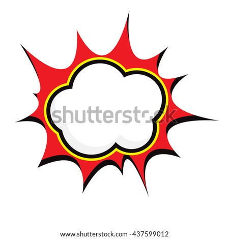 vector Speech red blue green black Yellow Bubble in Pop-Art Style on white background