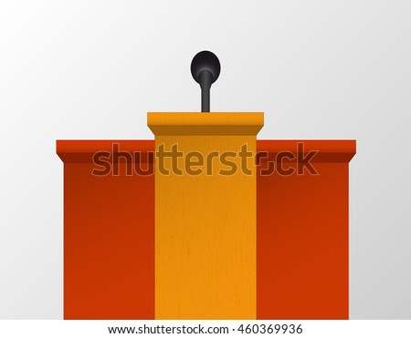 Vector speech table used during conferences. Simple podium with microphone.  - stock vector