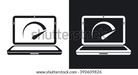 Vector speed test laptop icon. Two-tone version on black and white background