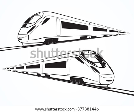 Vector speed train. Set of modern high speed train silhouettes, outlines, contours. High-speed train in motion. Isolated on white background - stock vector