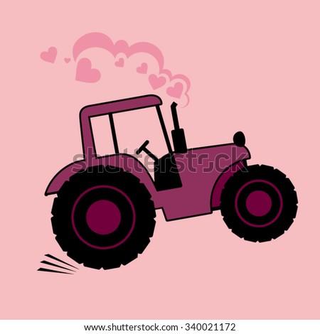 Vector speeding tractor illustration - stock vector
