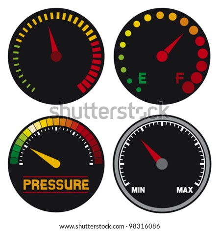 vector speedometer (dashboard speedometer icons, speed meter icons, speedometer, car speedometer and dashboard) - stock vector