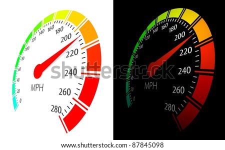 Vector speedometer  in perspective view - stock vector