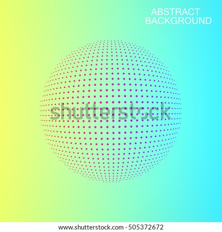 Vector sphere. Abstract background. 3 D object consisting of points. Doted sphere on warm colors gradient background