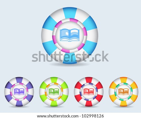 Vector Sphere E Book Icon/Button and multicolored - stock vector