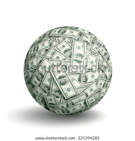 Vector sphere made of one hundred dollar bills. Eps10. CMYK. Global colors. Gradients used. - stock vector