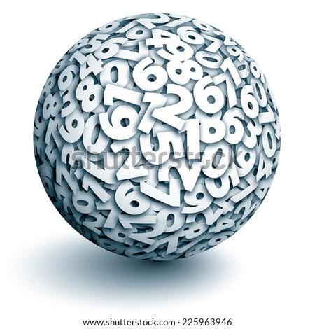 Vector sphere of numbers. Eps10. Transparency used. CMYK. Global color. Gradients used. - stock vector
