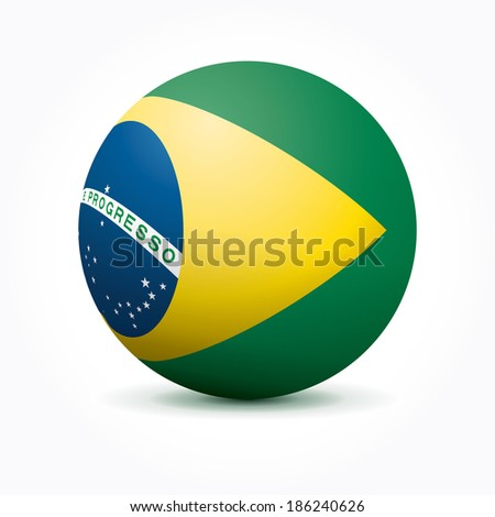 Vector sphere with Brazilian flag. - stock vector