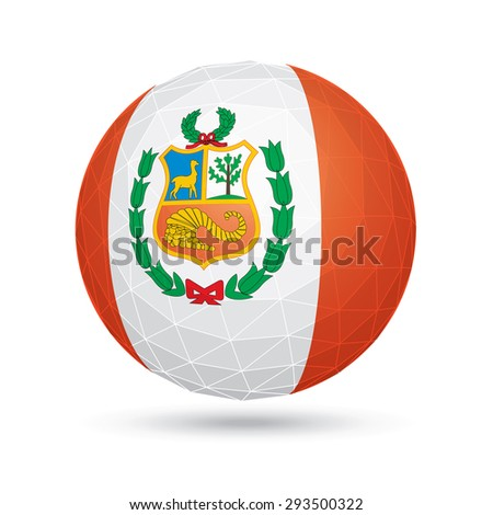 Vector sphere with flag of Peru. - stock vector