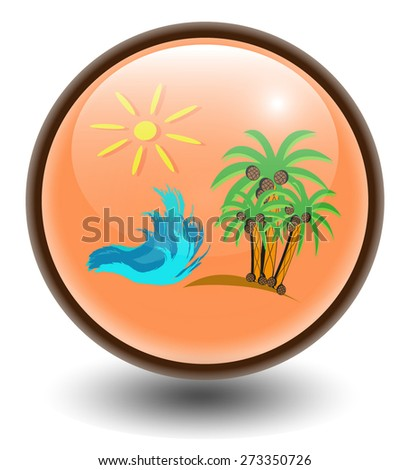 Vector spherical icon of recreation. Glossy button. Eps 10.
