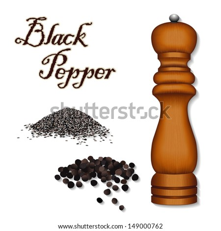 vector - Spice Grinder, Pepper Mill, whole and ground black peppercorns, Universal  for cooking, in French herb blend Bouquet Garni. See other herbs and spices in this series. EPS8 has gradient mesh. - stock vector