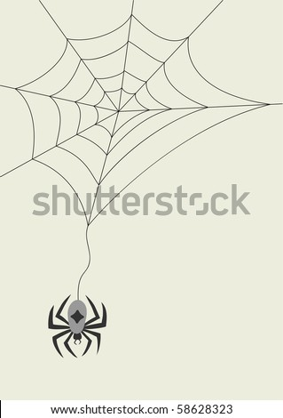 Vector spider and cobweb for your halloween design - stock vector