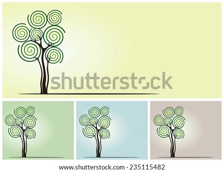 Vector spiral tree  - stock vector
