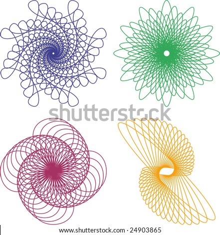 Vector spirograph patterns on a white background