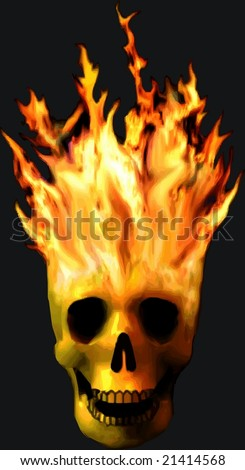 VECTOR: Spooky burning skull - background color can be changed - stock vector