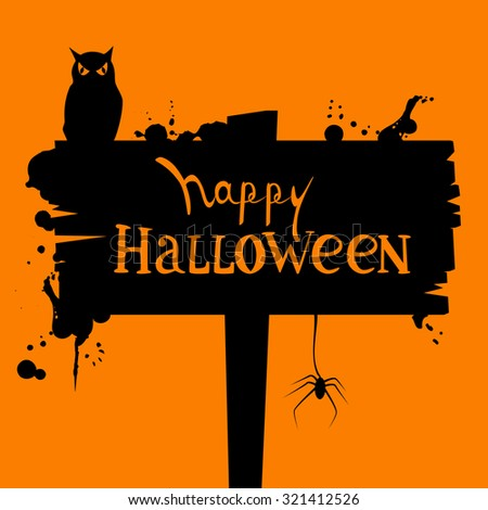 Vector spooky halloween card with hand drawn text - stock vector