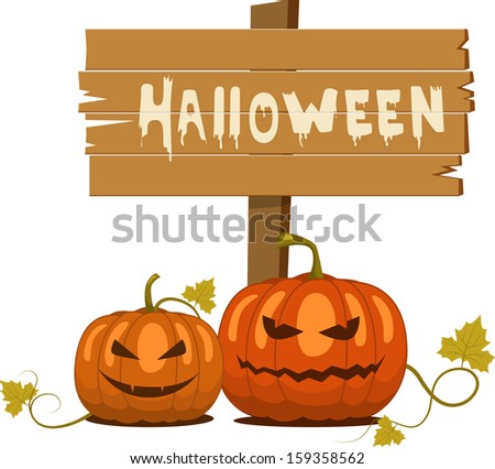 Vector spooky halloween pumpkin - stock vector