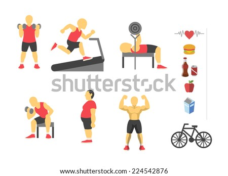 Vector sport and fitness infographics. Color flat icon set - stock vector