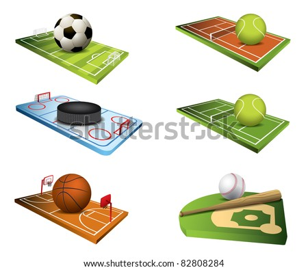 Vector sport fields icons - stock vector