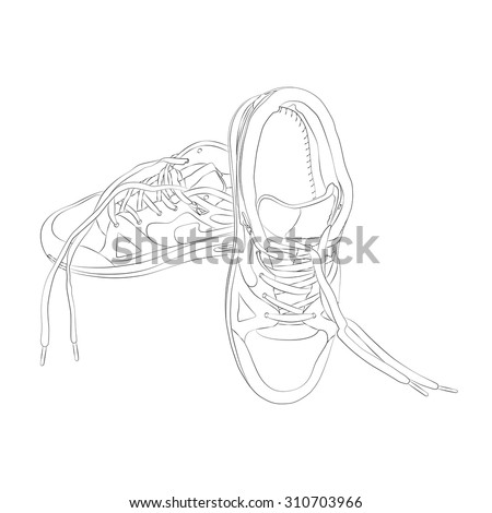 vector sport footware isolated on white background. EPS - stock vector