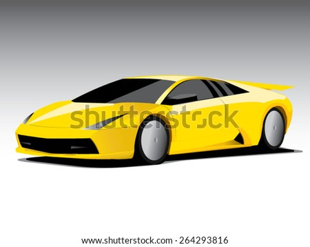 Vector sports car front view - stock vector