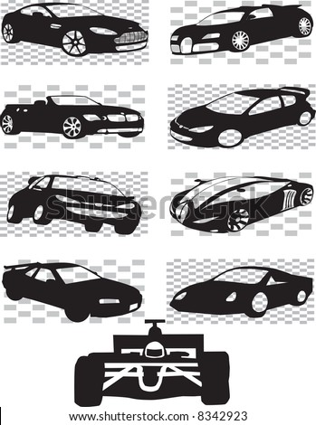 vector sports cars on checkered flags - stock vector