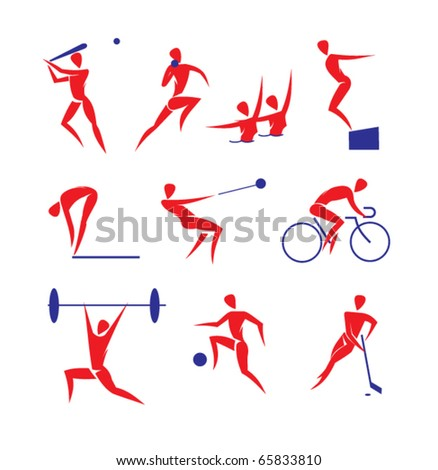 vector sports symbols: baseball, shot put, synchronized swimming, diving, hammer throwing, cycle racing, weightlifting, football, hockey - stock vector