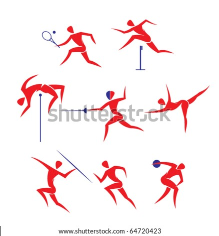 vector sports symbols: tennis, run, discus throwing, javelin throwing, gymnastics, fencing, high jump - stock vector