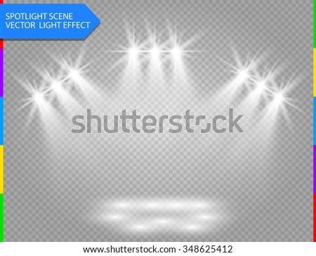 vector spotlight. Light effect on transparent background. Concert scene illuminated by glow ray. Star flash. - stock vector