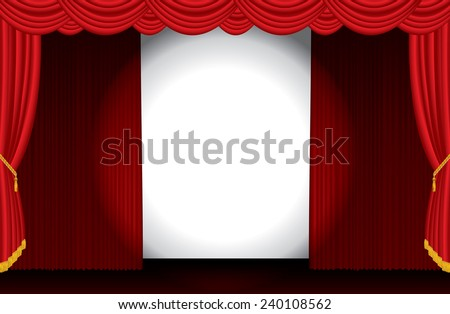 vector spotlight on opened wide red stage - stock vector