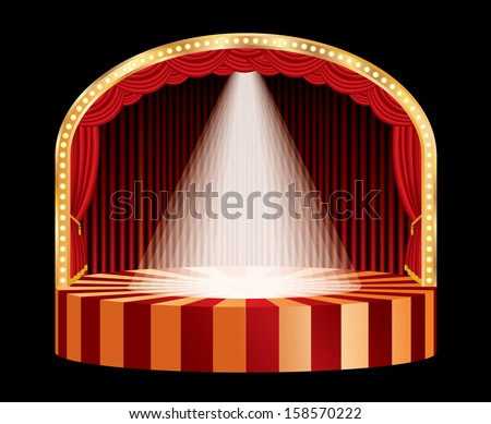 vector spotlight on red circle stage - stock vector