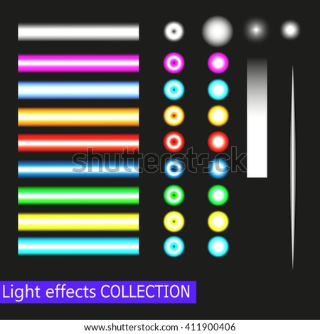 Vector Spotlights and neon Light Effects Set isolated on black  background